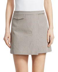 Theory Wool-blend Plaid Mini Wrap Skirt - White