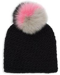 Surell Women's Star Fox Fur-trim Knit Beanie - White Black - Multicolor
