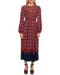 Kate Spade Women's Wild-print Midi Dress - Red - Size 4