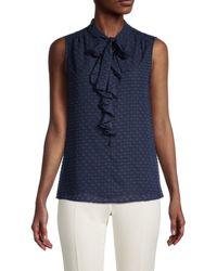 Tommy Hilfiger Women's Dotted Tie-neck Sleeveless Blouse - Scarlet - Size L - Blue