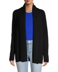 Vince Mixed Gauge Wool & Cashmere Open-front Cardigan - Black