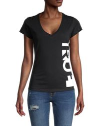 True Religion Women's Slim Logo V-neck T-shirt - Black - Size S