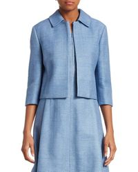 Akris Punto Raw Silk Cropped Jacket - Blue