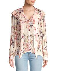 PAIGE Amore Silk Floral Tie Neck Blouse - Multicolour