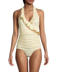 Ganni Ruffle One-piece Swimsuit - Natural