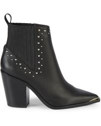 Kenneth Cole Bynona Studded Leather Western Booties - Black