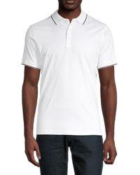Michael Kors Men's Logo Contrast-tipped Polo - White - Size M
