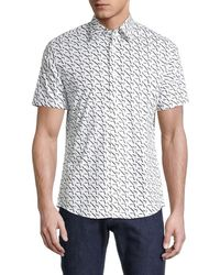 Michael Kors Men's Slim-fit Logo-print Shirt - Midnight - Size M - Blue