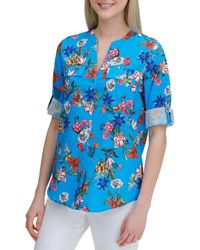 Calvin Klein Floral Long-sleeve Blouse - Blue
