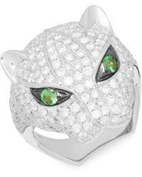 Effy 14k White Gold, Tsavorite & Diamond Ring/size 7 - Size 7 - Metallic