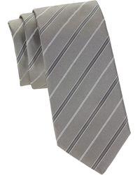HUGO Striped Silk Tie - Gray