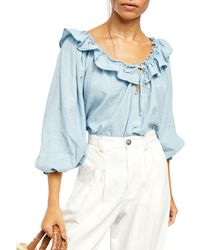 Free People Lily Of The Valley Chambray Blouse - Blue