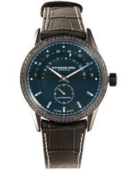 Raymond Weil Men's Freelancer Stainless Steel, Black Diamond & Leather Strap Watch