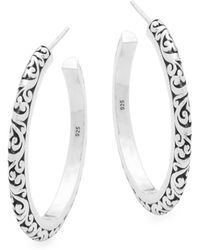 Lois Hill - Sterling Silver Engraved Hoop Earrings - Lyst