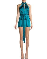 Alexis Rayelynn Silk Tie-waist Romper - Blue