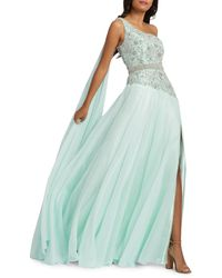 Mac Duggal Grecian One-shoulder Chiffon Gown - Blue