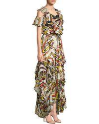 Faith Connexion Asymmetrical Floral High-low Silk Maxi Dress - Metallic