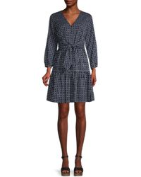 Tommy Hilfiger Dots & Stripes Flare Dress - Blue