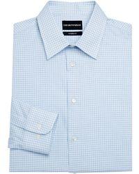 Emporio Armani Modern Fit Check Button-down Shirt - Blue