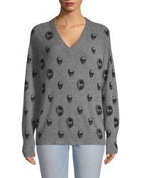 360cashmere Skull-print Cashmere Sweater - Gray