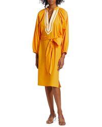 Tory Burch Women's Puff-sleeve Tunic Dress - Vine Orange - Size Xs - Yellow
