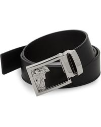 Versace Medusa Logo Buckle Leather Belt - Black