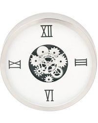 UMA | Raquel Davidowicz Medium Clocks Contemporary Geared Stainless Steel Wall Clock - White