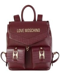 Love Moschino Croc-embossed Logo Backpack - Red
