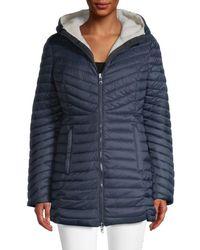 Pajar Reversible Quilted Fleece Coat - Blue