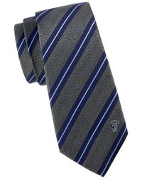 Versace Men's Dual Striped Silk Tie - Blue
