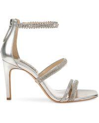 Badgley Mischka Zulema Embellished Ankle-strap Sandals - White