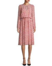 Mikael Aghal Women's Floral Blouson Dress - White Red - Size 4