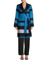 ESCADA Madras Striped Double-faced Wrap Coat - Blue