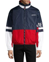 Perry Ellis America Colorblock Zip-front Jacket - Blue
