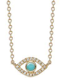 Saks Fifth Avenue Women's 14k Yellow Gold, Turquoise & Diamond Evil Eye Pendant Necklace - Metallic