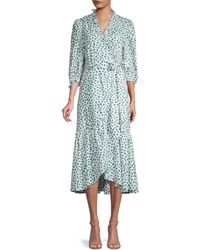 Rebecca Taylor Floral Ruffle-trim Wrap Dress - Blue