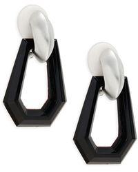 Kenneth Jay Lane Rhodium-plated Geometric Clip-on Drop Earrings - Multicolor