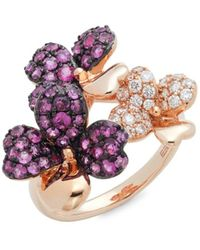 Effy Women's 14k Rose Gold, Ruby & Diamond Floral Ring/size 7 - Size 7 - Red
