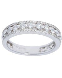 Nephora - 14k White Gold And Diamonds Pave Side Ring - Lyst