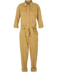 Balmain Long-sleeve Belted Denim Jumpsuit - Yellow
