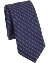 Saks Fifth Avenue - Modern Diagonal Stripes Silk Tie - Lyst