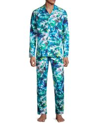 Hom Men's 2-piece Floral-print Cotton Top & Pants Pajama Set - Size S - Blue
