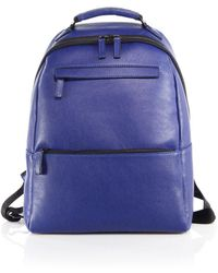 Saks Fifth Avenue Collection Oblique-zip Leather Backpack - Blue