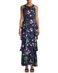 Tommy Hilfiger Women's Avignion Tiered Floral Maxi Dress - Sky Captain - Size 2 - Blue