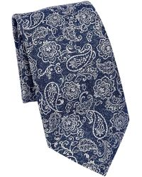 Saks Fifth Avenue Collection Paisley & Floral Silk Tie - Brown