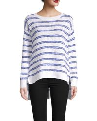 Pure Navy - Striped Knit High-low Cotton Slub Pullover - Lyst