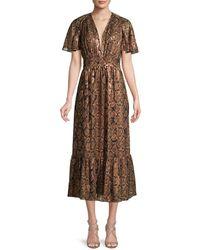 Michael Kors Women's Snake-print Dress - Cocoa Black - Size 8 - Brown
