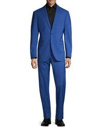 Saks Fifth Avenue Trim-fit Wool Suit - Blue