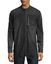 PRPS Speckled Cotton Button-down Shirt - Black
