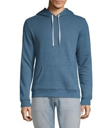 Saks Fifth Avenue Drawstring Cotton Blend Hoodie - Blue
